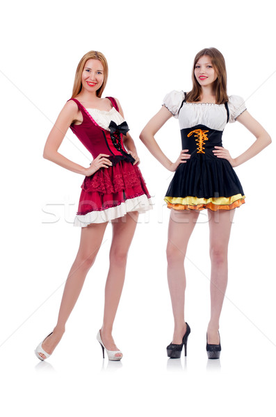 Girls in bavarian costumes isolated on white Stock photo © Elnur