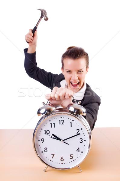 Kobieta zdesperowany czasu zegar młotek działalności Zdjęcia stock © Elnur