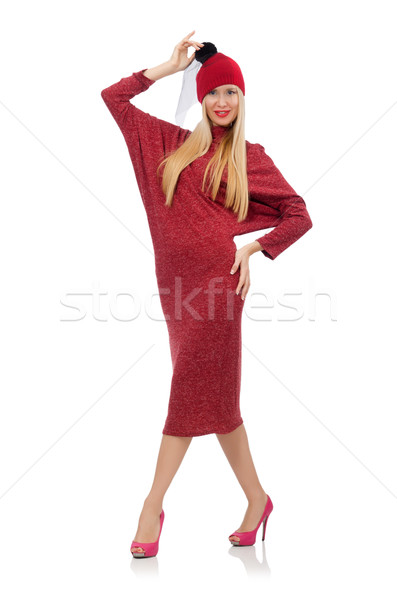 Pretty young woman in ruby dress isolated on white Stock photo © Elnur