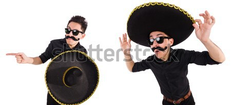 Stok fotoğraf: Komik · adam · Meksika · geniş · kenarlı · şapka · şapka