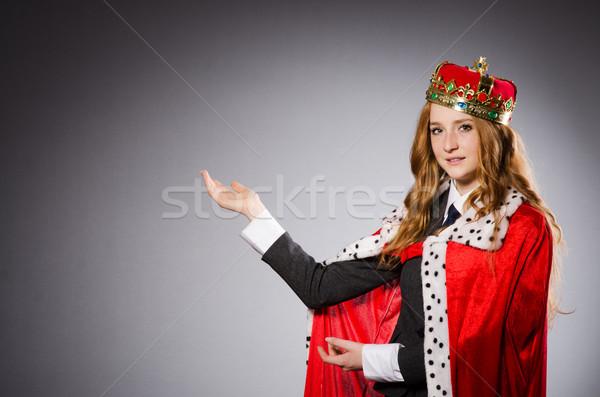 Bastante empresário coroa isolado cinza mulher Foto stock © Elnur
