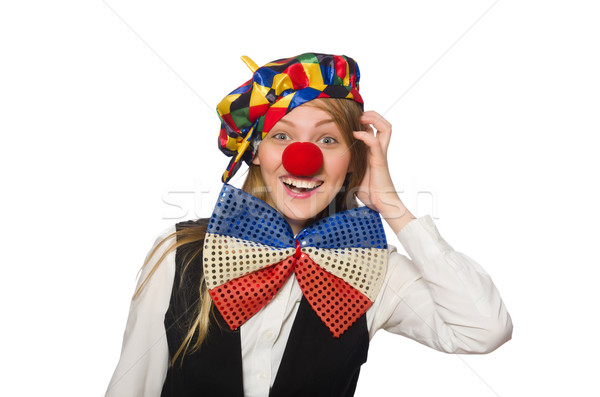 Stock photo: Pretty female clown isolated on white