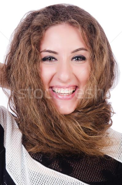 Barna haj lány izolált fehér arc fekete Stock fotó © Elnur