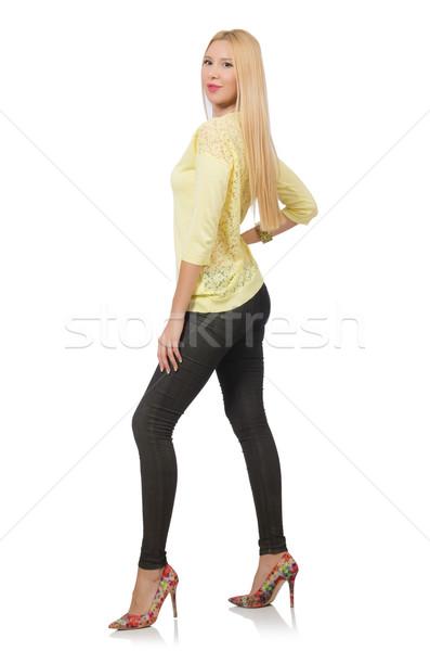 Güzel kadın sarı bluz yalıtılmış beyaz kadın Stok fotoğraf © Elnur
