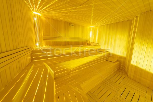 Forró fából készült szauna szoba belső víz Stock fotó © Elnur
