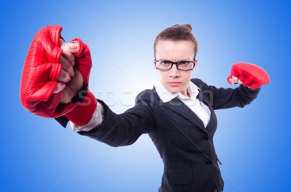 женщину боксерские перчатки белый бизнеса служба работу Сток-фото © Elnur