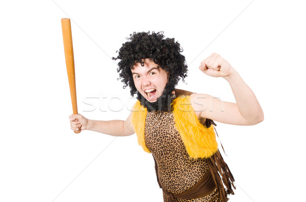 Funny cave man with baseball bat isolated on white Stock photo © Elnur
