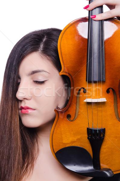 Nő előadó játszik hegedű fehér művészet Stock fotó © Elnur