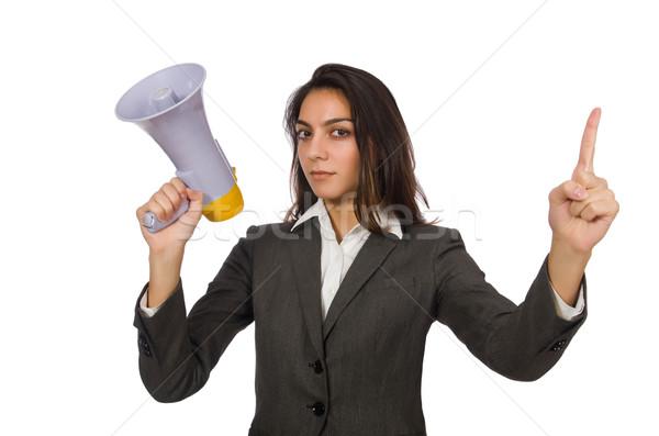 Nő hangfal fehér üzlet iroda lány Stock fotó © Elnur