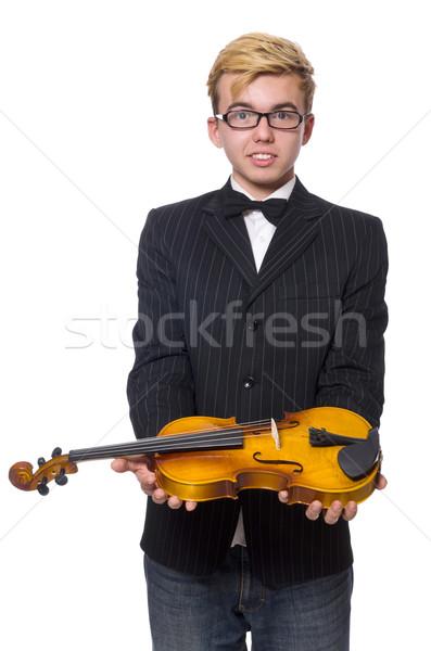 Giovani musicista violino isolato bianco musica Foto d'archivio © Elnur