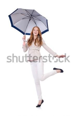 Mulher guarda-chuva isolado branco água feliz Foto stock © Elnur