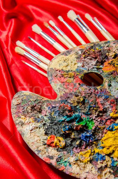 Kunst palet school verf achtergrond onderwijs Stockfoto © Elnur
