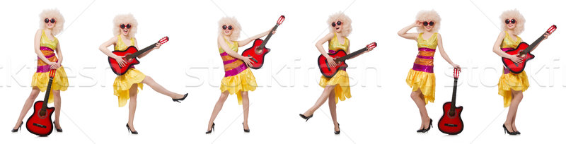 Сток-фото: молодые · певицы · афро · Cut · гитаре · женщину