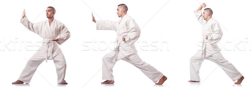 Colagem karatê jogador quimono isolado branco Foto stock © Elnur