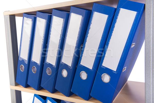 ストックフォト: 多くの · フォルダ · シェルフ · オフィス · 背景 · 青