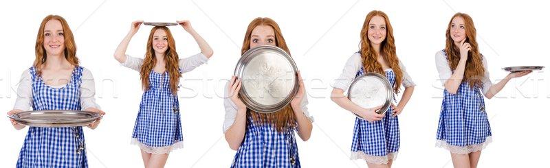 Agradable atractivo camarera aislado blanco nina Foto stock © Elnur