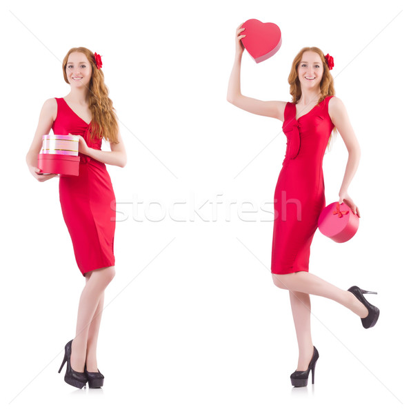The red dress woman holding gift box isolated on white Stock photo © Elnur