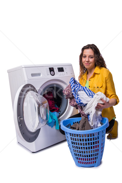 Vrouw moe wasserij geïsoleerd witte huis Stockfoto © Elnur