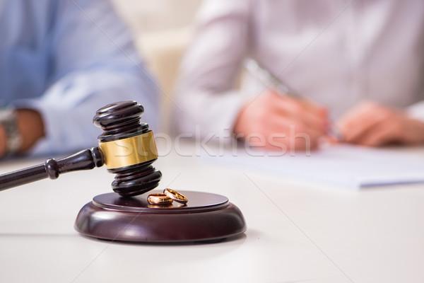 Judge gavel deciding on marriage divorce Stock photo © Elnur