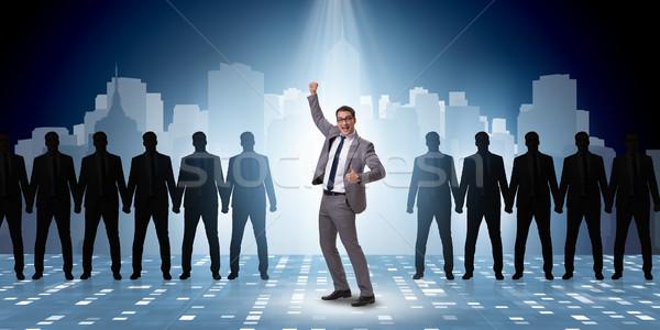 Foto stock: Empresário · holofote · negócio · homem · multidão · alto-falante