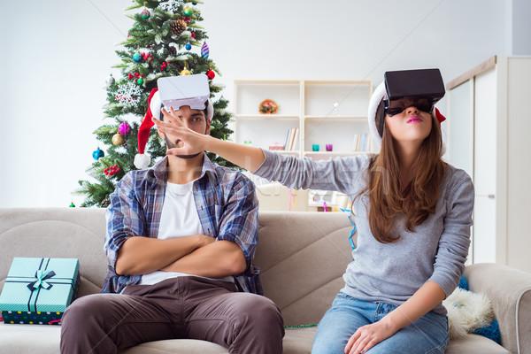 幸せな家族 バーチャル 現実 眼鏡 クリスマス 家族 ストックフォト © Elnur
