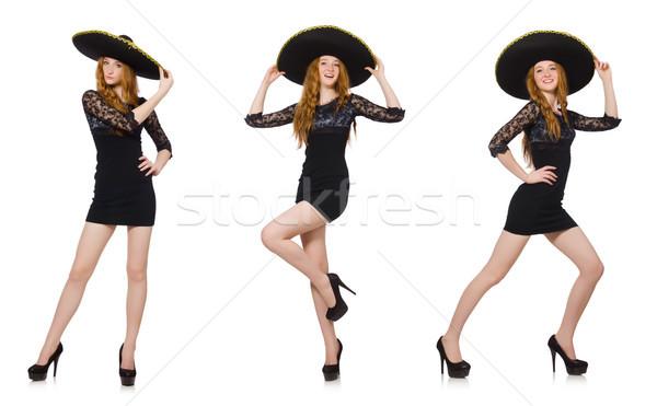 Funny mexican sombrero hat kobieta tancerz Zdjęcia stock © Elnur