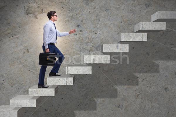 бизнесмен скалолазания карьеру лестнице бизнеса работает Сток-фото © Elnur