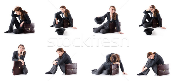 The bankrupt businesswoman isolated on white Stock photo © Elnur