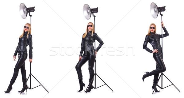 Stock fotó: Kollázs · nő · fotó · izolált · fehér · lány