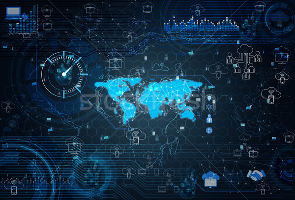 Social networks concept with world map Stock photo © Elnur
