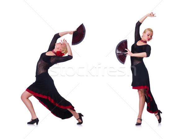 Kobieta taniec hiszpanski dance odizolowany biały Zdjęcia stock © Elnur