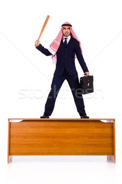 Stockfoto: Arab · zakenman · honkbalknuppel · business · werk · achtergrond