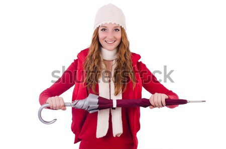 Young woman in red santa costume with blank board Stock photo © Elnur