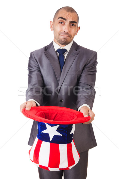 Man with american hat asking for money Stock photo © Elnur