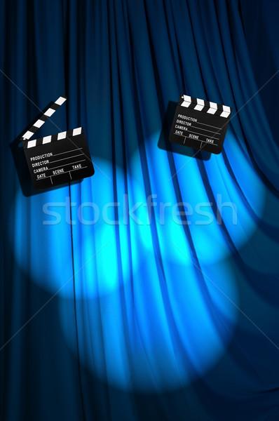 Movie clapper board against curtain Stock photo © Elnur