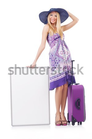 Young woman with blank board on white Stock photo © Elnur