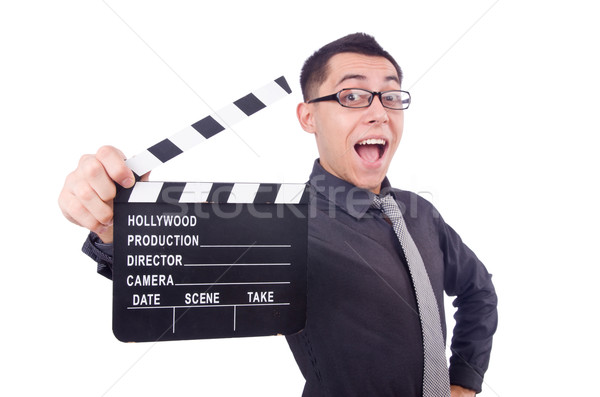 Funny man with movie clapper Stock photo © Elnur