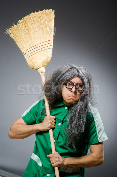 Funny man with brush and wig Stock photo © Elnur