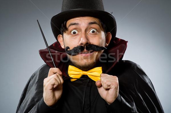 смешные маг человека Hat стороны улыбка Сток-фото © Elnur