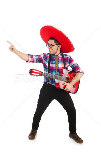 Komik Meksika geniş kenarlı şapka müzik parti gitar Stok fotoğraf © Elnur