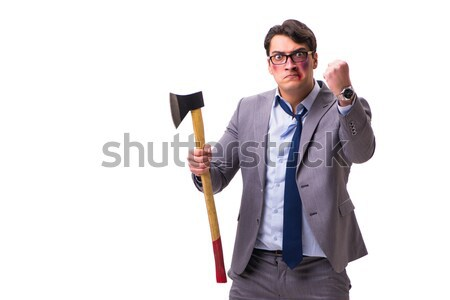 Young businessman holding a tool isolated on white Stock photo © Elnur