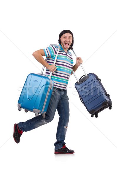 Młody człowiek walizki odizolowany biały szczęśliwy Zdjęcia stock © Elnur