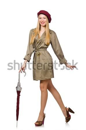 Mujer militar ropa aislado blanco fondo Foto stock © Elnur