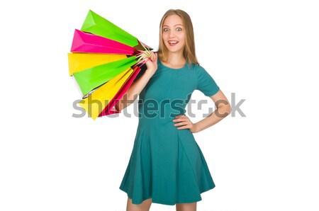 Vrouw kleurrijk paraplu studio water Stockfoto © Elnur