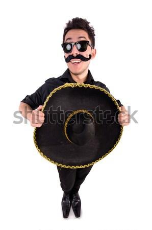 Stockfoto: Grappig · man · Mexicaanse · sombrero · hoed