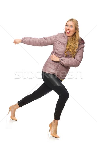 Zdjęcia stock: Dość · dziewczyna · zimą · kurtka · odizolowany · biały