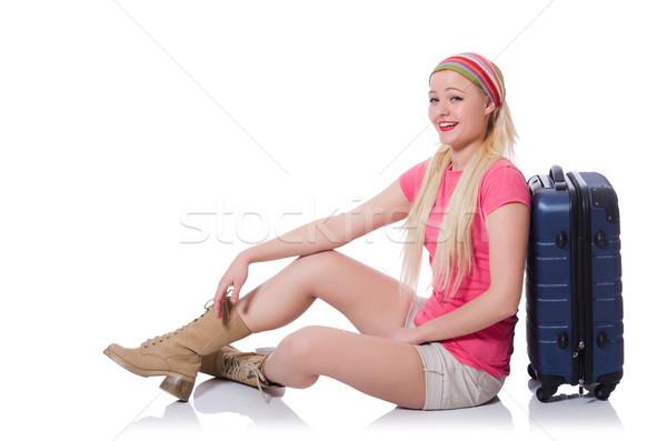 Mulher jovem férias de verão mulher menina aeroporto diversão Foto stock © Elnur