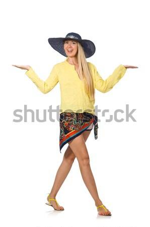 Vrouw cowboyhoed geïsoleerd witte sexy Stockfoto © Elnur