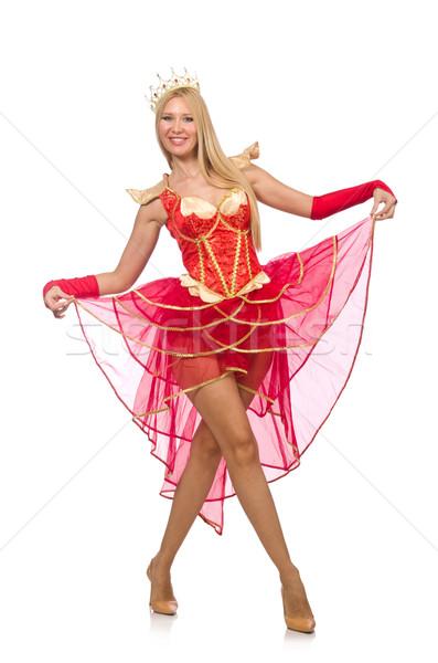 Kraliçe kırmızı elbise yalıtılmış beyaz kadın dans Stok fotoğraf © Elnur