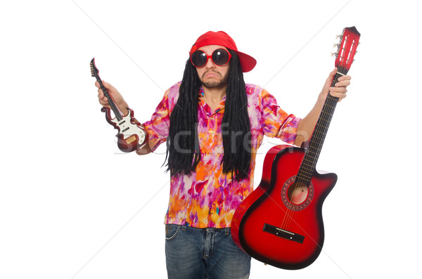 Erkek müzisyen yalıtılmış beyaz adam sokak Stok fotoğraf © Elnur